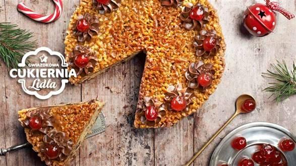 Tort migdałowo-miodowy z suszonymi figami i żurawiną
