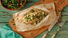 Papilotki z łososiem z porami, gruszkami i serem pleśniowym