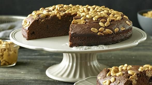 Brownie czekoladowe z syropem klonowym oraz masłem orzechowym