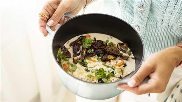 Kremowa zupa z pieczonymi grzybami
