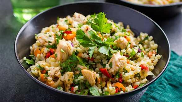 Kaszotto z kurczakiem, warzywami i kolendrą