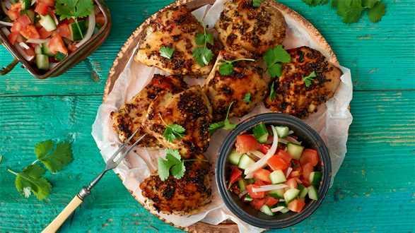 Glazurowane udka kurczaka z marokańską sałatką