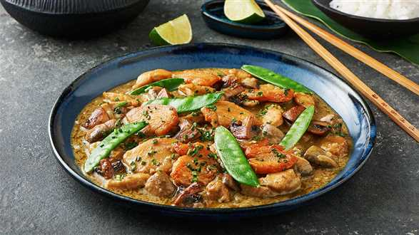 Zielone curry z groszkiem cukrowym