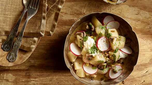 Pieczone warzywa w sosie curry z mlekiem kokosowym i jogurtem