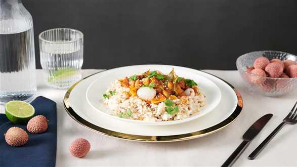 Kurczak z ostrą pastą curry i liczi!