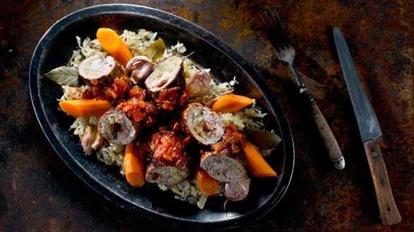 Zrazy z szynki wieprzowej w sosie musztardowym