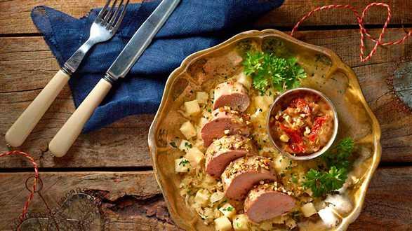 Polędwiczki wieprzowe w sosie miodowo-musztardowym