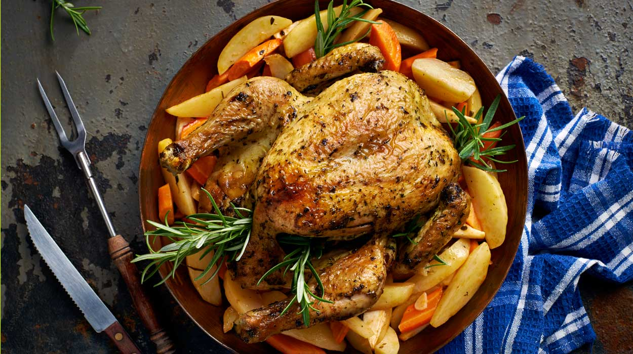 Pieczony kurczak chermoula z warzywami