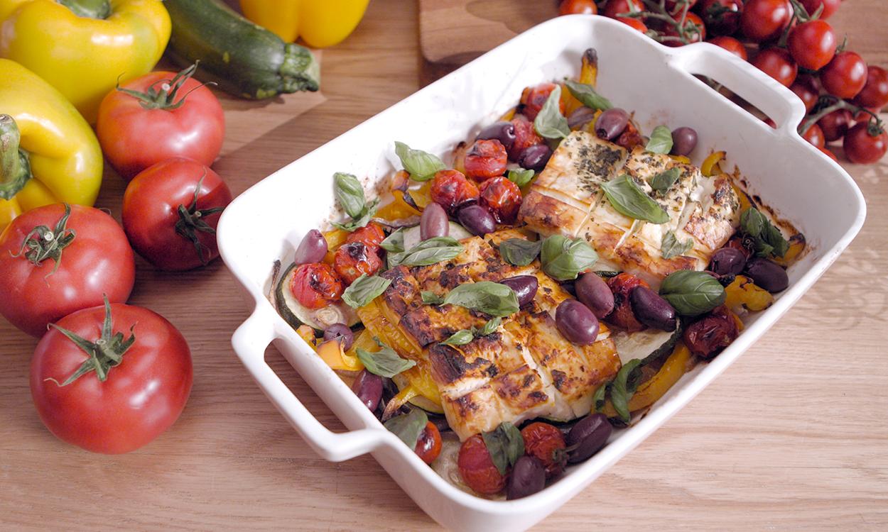 Pieczona feta z warzywami