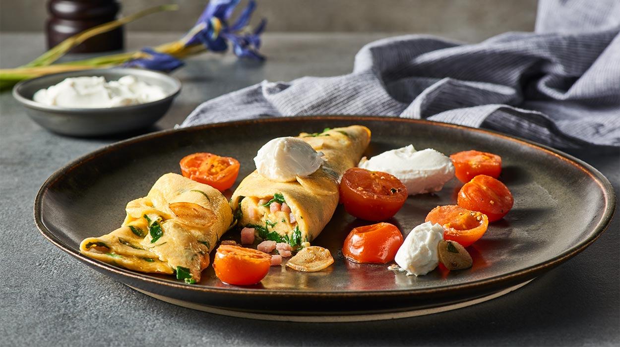 Omlet ze szpinakiem i szynką