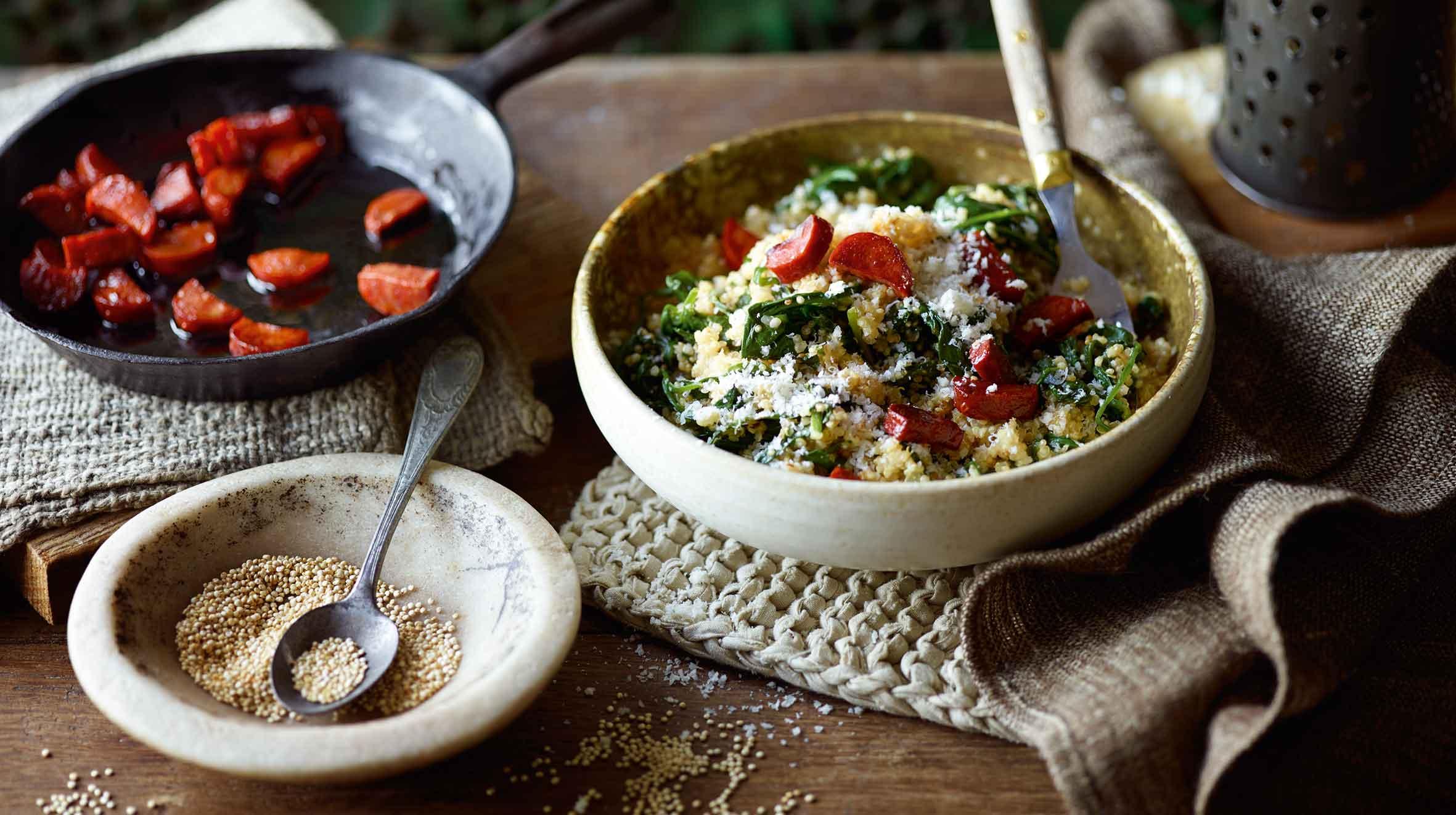 Quisotto ze szpinakiem i chorizo