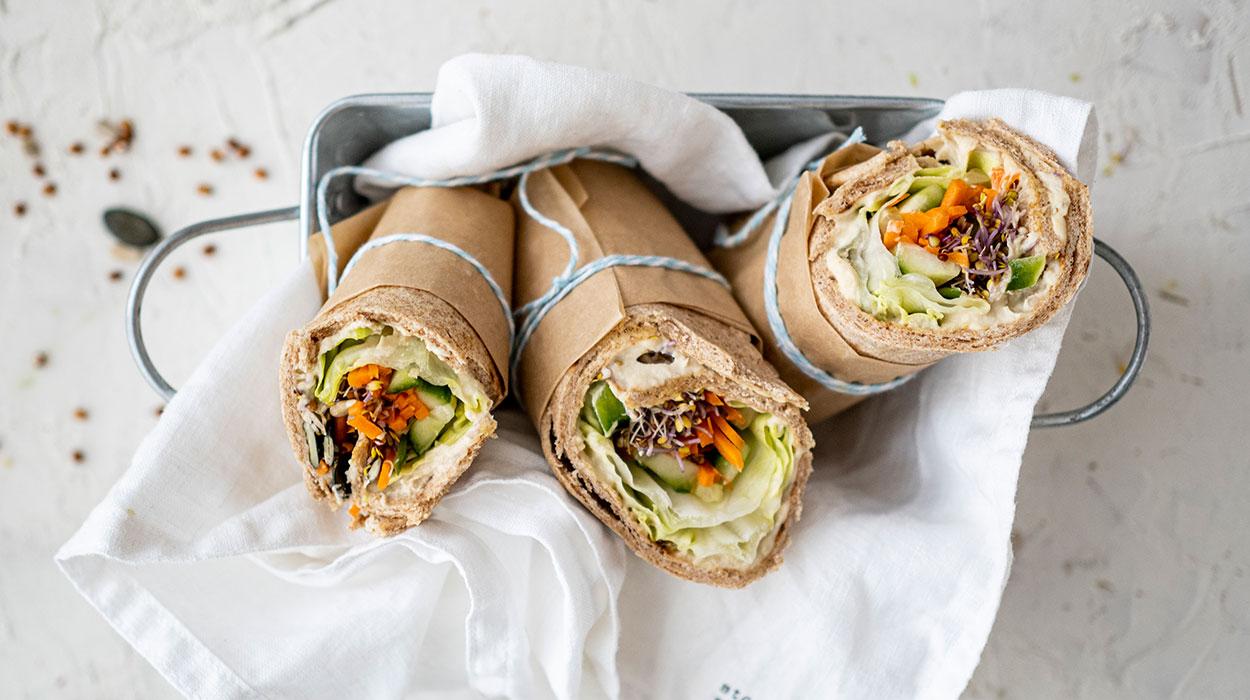 Kanapkowe wrapy z warzywami