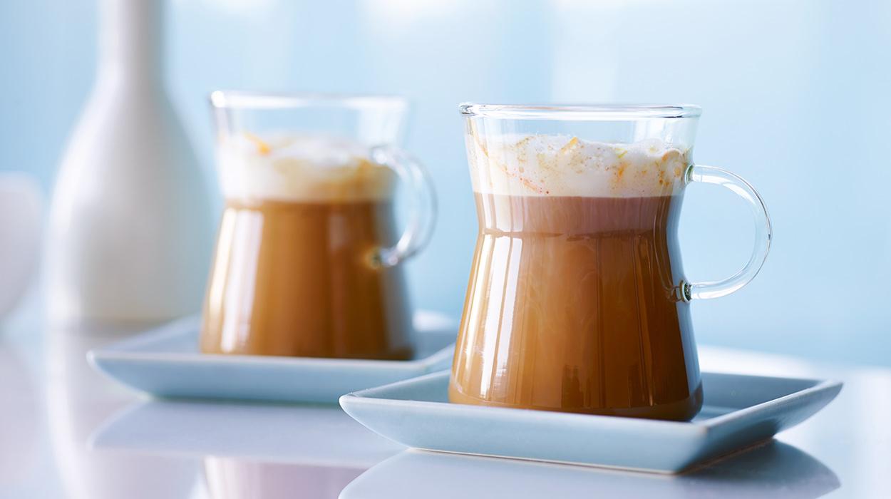 Kawa o smaku pomarańczy z pianką imbirową