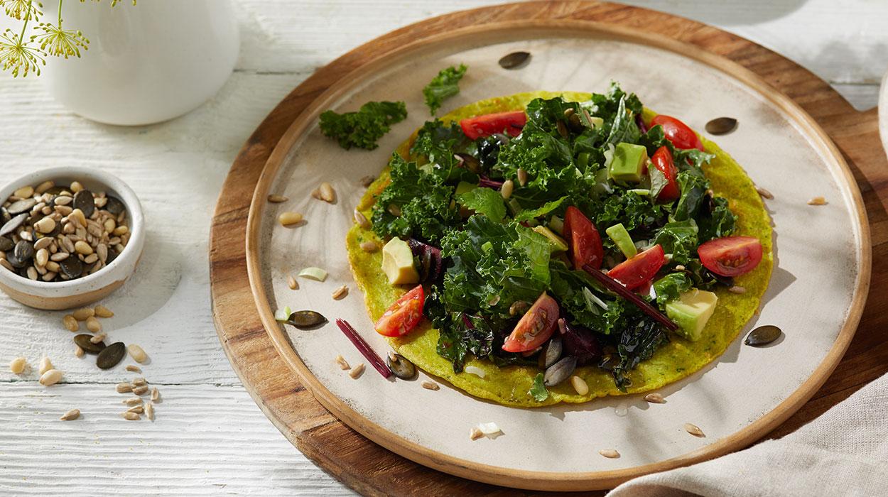 Wegański zielony omlet z silken tofu